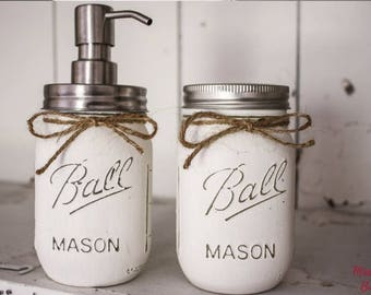Mason Jar Bathroom Set, Custom Mason Jar set, custom mason jar set, mason jar toothbrush holder, mason jar soap dispenser, custom mason jars