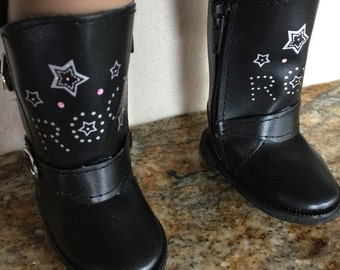 "Black rock boots- designed to fit 18"" doll like the AG or  American Girl doll"