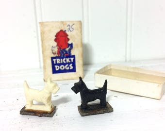 Vintage 1946 Tricky Dogs in Original Box Scotty Dogs!