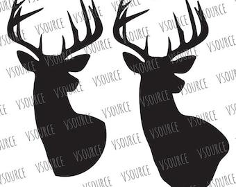 Deer SVG - Deer Head SVG - Reindeer SVG - Reindeer Head Svg - Reindeer Cut File - Deer Cut File - Deer Head Silhouette - Reindeer Cut File