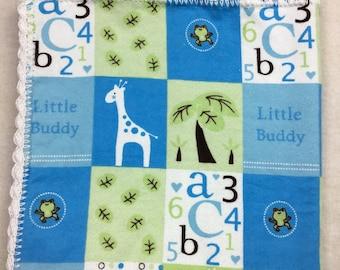 SALE! - Boy Swaddling Blanket - Boy Baby Blanket - Blue Flannel Blanket - Flannel Baby Blanket - Crochet Blanket - Soothing Baby Blanket