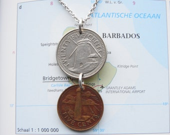 Barbados double coin necklace/keychain - lighthouse and mill - made of an original coin from Barbados