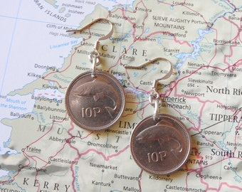 Irish coin earrings - 5 different designs - made of original pre-euro coins from Ireland - horse - fish - bird