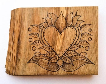 Personalised pyrography Valentines Day Love Heart oak artwork, miniature love heart wall art, rustic customized love heart woodburned art,