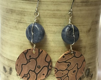 Copper dangle earrings with blue corral bead