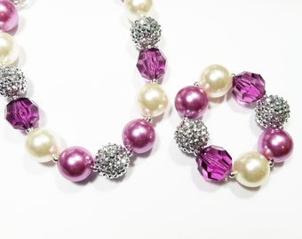 Girls chunky bubblegum necklace bracelet jewelry set