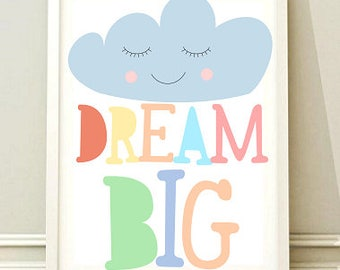 Nursery Wall Art Print, Kids Art Print, Printable Nursery Print, Modern Nursery Decor, Dream big poster, Kids room, Instant download