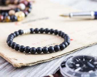 6mm - Matte black onyx beaded stretchy bracelet, mens bracelet, womens bracelet, black bead bracelet, black bracelet