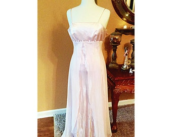 Vintage Pink maxi dress Made of Satin and Chiffon/Maid of honor/Evening dress
