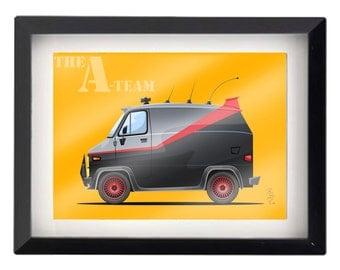 """A-Team Van !! taaan tararaaaan  tararaaaan 5""""x7"""" illustration"""