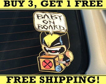 Baby Wolverine, Baby On Board Bumper Sticker Decal