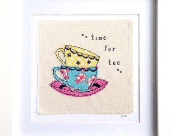 Tea Cups framed wall art picture gift, fabric applique embroidery, time for tea, tea lover gift, textile art