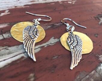 Hammered metal wings earrings