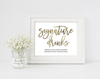 Wedding Sign Template   Signature Drinks Sign   Wedding Sign   Printable Wedding Sign   5x7 & 8x10   EDN 5454
