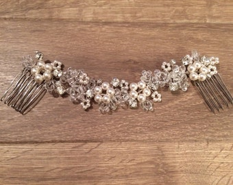 Flower Bridal Hair Vine, Pearl Crystal Headpiece