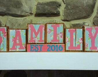 Family Wood Blocks - Adoption Gift - New Family Gift - Home Decor - Family Decor - Wood Block Decor - Blended Family Decor - Blended Family
