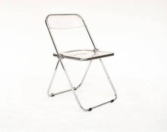 """Seven Anonima Castelli """"Plia"""" Lucite Folding Chairs by Giancarlo Piretti"""