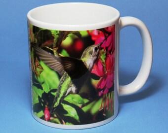 Hummingbird Coffee Mug III, hummingbird mug, hummingbird coffee mug, bird lover gift, birder gift, birdwatcher gift