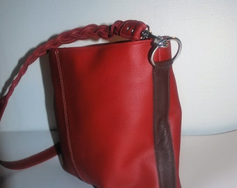 Red and brown leather bag