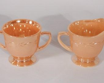 Peach Lusterware Cream and Sugar