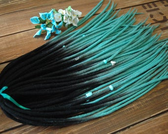 Set of wool dreads double ended dread DE dreads dreads extensions hair extensions dreads fall Turquoise birds