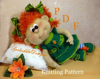 Toy Knitting Pattern, Pippi Longstocking Doll,  Doll knitting pattern, Knit toy, Toy knitting pattern, knitted round, knitted baby girl Doll