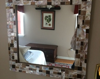 Mother of Pearl and Glass Tile Modern Mirror