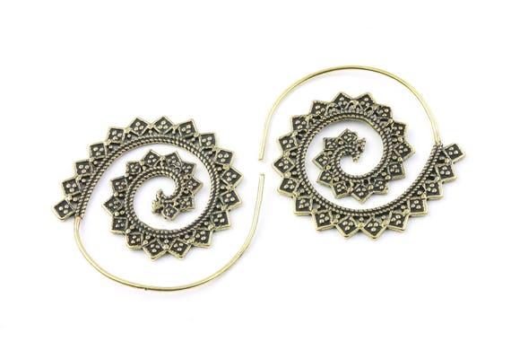 Night Fire Earrings, Brass Spiral, Boho, Bohemian, Mandala, Tribal Earrings, Festival Jewelry, Gypsy Earrings, Ethnic, Hippie