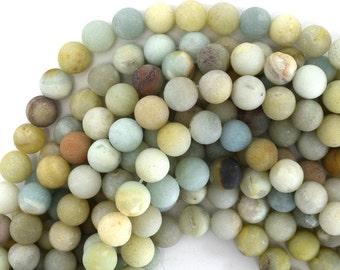 """12mm matte amazonite round beads 15"""" strand 39168"""