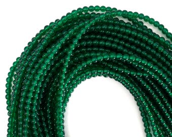 "4mm green onyx round beads 15"" strand 12828"