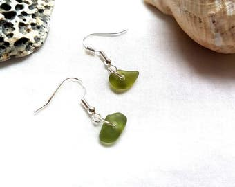 Brown white or green dangle sea glass earrings