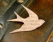Swallow brooch, copper swallow brooch, swallow jewellery, text jewellery, poetry jewellery, antique style, bird jewellery, bird brooch