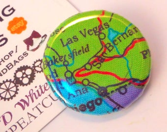 Handmade 'Globetrotter' badge, Las Vegas fabric badge, Las Vegas fabric pin badge, Las Vegas button, Las Vegas pin button, badge, USA