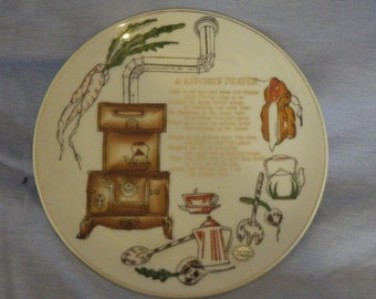 Vintage 1950/60s Enesco Japan-Kitchen Prayer Plate-Porcelain Hand Painted
