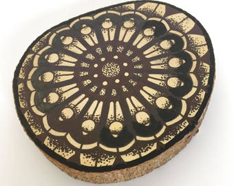 Wood slice with original mandala dotwork drawing