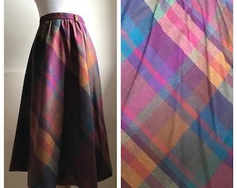 Vintage Plaid A Line Skirt | Rainbow Plaid Wool Hippe Skirt | Hipster Skirt | Mod Skirt | Long 70s Skirt | Rad Long Skirt | FREE SHIPPING