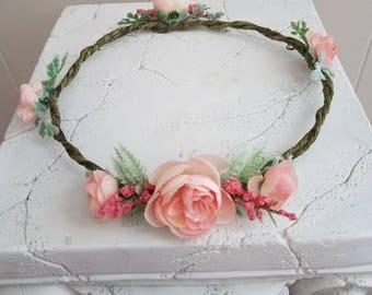 Soft Coral flower crown