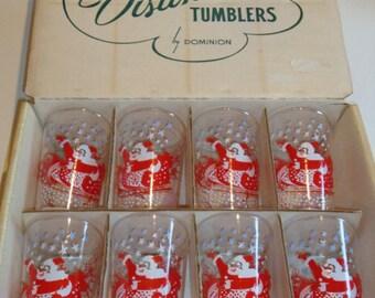 Dominion Glass Co.  Box of 8 Christmas Glasses / Tumblers