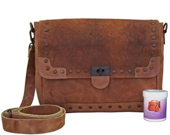 Shoulder bags - MacBook cases - VIRGINIA brown leather vintage style