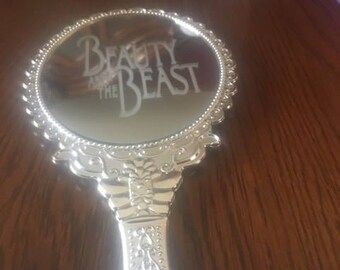 Beauty and the Beast etched mirror