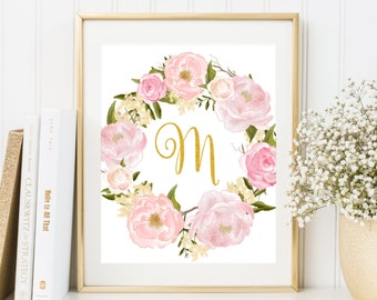Nursery Monogram M Letter Nursery floral decor Gold letter print Printable Art Nursery Letters Initial calligraphy monogram Floral wreath