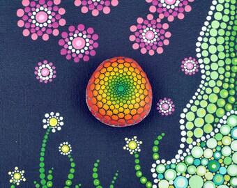 Sunny - hand-painted stone - mandala