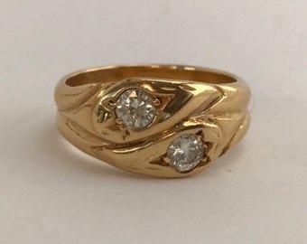 Vintage 18k gold diamond serpent ring. Hallmark B&A crown 18 anchor (birmingham)p (1964) sz 5.75, 6.8grams .30ctw
