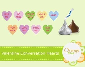 Valentine's Candy Hearts, Conversation Hearts Stickers, Valentine's Day Hershey Kiss Candy Stickers
