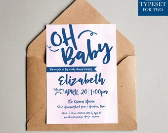 Oh Baby Shower Invitation - Baby Shower Invite - Printable - Invitation - Instant Download
