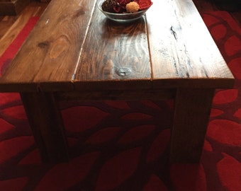 Solid wood handmade reycled scaffold plank coffee table