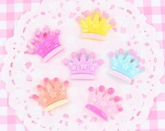 10% OFF SALE 6 x Cute Princess Crown Flatback Embellishment Cabochons Kawaii Craft