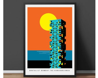 Brutalist Bombay: The Kanchanjunga Towers Illustrated poster, Matte and Giclee Art Prints in A3 or A2 sizes. Wall Art, Home Decor.