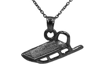 925 Black Sterling Silver Sled Necklace