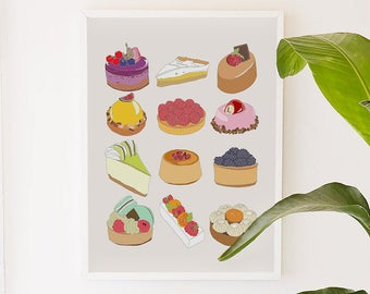 Sweet Sweet Sweet, food, kitchen, illustration, digital, art print
